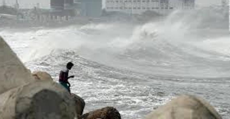 7-8 feet high waves are crashing on the Sandwip coast from the Bay of Bengal.
